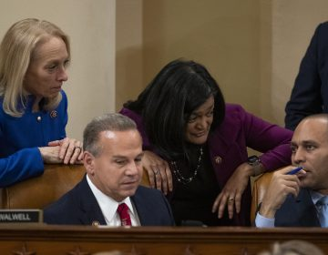 Left to right, Rep. Mary Gay Scanlon, D-PA., Rep. David Cicilline, D-R.I., Rep. Pramila Jayapal, D-Wash., and Rep. Hakeem Jeffries, D-N.Y., confer during a House Judiciary Committee markup of Articles of Impeachment against President Donald Trump, Thursday Dec. 12, 2019 on Capitol Hill in Washington. (Alex Edelman/Pool via AP)