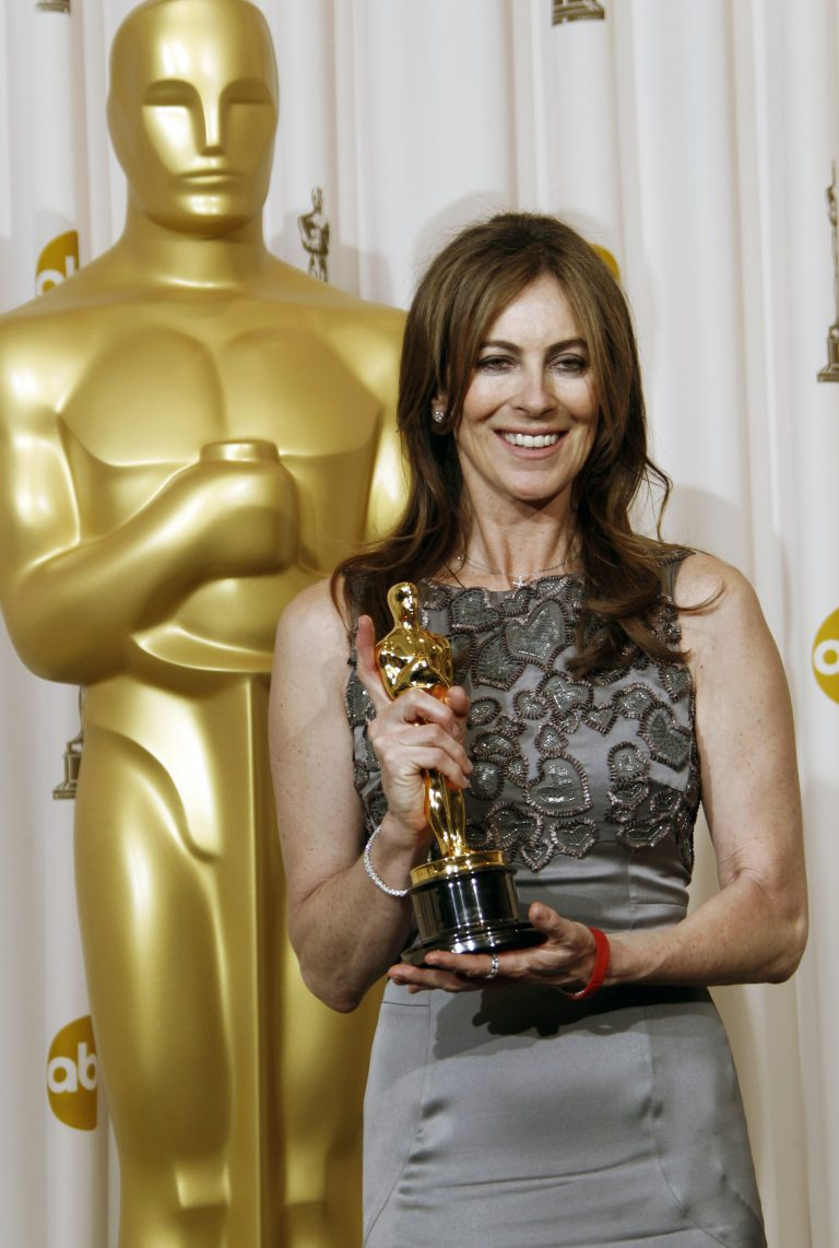 Director Kathryn Bigelow poses backstage with the Oscar for best achievement in directing for