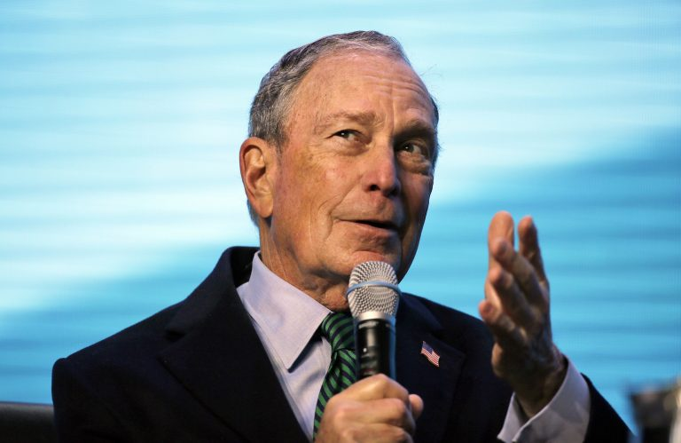 In this Wednesday, Dec. 11, 2019 file photo, Democratic presidential candidate and former New York City Mayor Michael Bloomberg gestures while taking part at the American Geophysical Union fall meeting in San Francisco. (Eric Risberg/AP Photo)