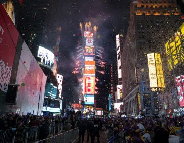 This year's New Year's Eve celebration in Times Square will spotlight efforts to combat climate change when high school science teachers and students press the button that begins the famous  countdown to next year. (Craig Ruttle, File/AP Photo)