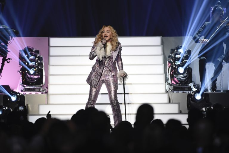 Madonna performs a tribute to Prince at the Billboard Music Awards at the T-Mobile Arena on Sunday, May 22, 2016, in Las Vegas. (Photo by Chris Pizzello/Invision/AP)
