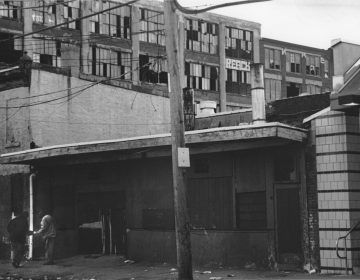 Drug deal in front of abandoned factory in Kensington. (George Karandinos)