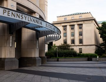 The Pennsylvania Judicial Center in Harrisburg is seen on Aug. 19, 2019. (Ian Sterling for WITF)