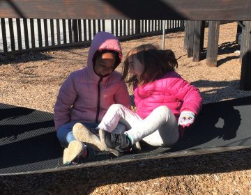 Best friends play at Houston school in Mt. Airy. (Photo by Huntly Collins)