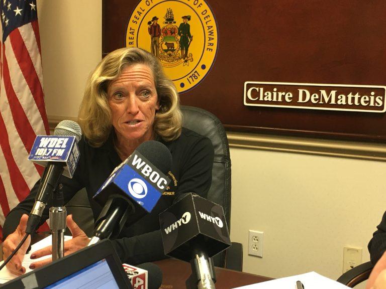 Delaware Dept. of Correction Commissioner Claire DeMatteis talks about review of prison health care just completed by Christiana Care. (Mark Eichmann/WHYY)