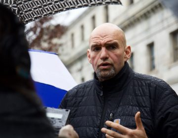 Pa. Lieutenant Governor John Fetterman speaks to the press after Sheppard's hearing. (Kimberly Paynter/WHYY)