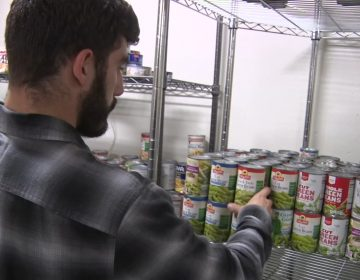 Sean Hardy, a senior at Montclair State University visits the food pantry there. (NJTV News)
