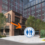 A rendering of a complex planned for North Broad, near the Rail Park. Neighbors want the developer to put a public bathroom in the project's public plaza. (Courtesy of Toll Brothers/Barton Partners Architects/PlanPhilly)