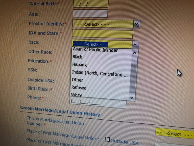 Marriage license applicants in Delaware are asked for their race when they appear at their county's marriage bureau. This is screen shot of the computerized template that clerks fill out. (Cris Barrish/WHYY)