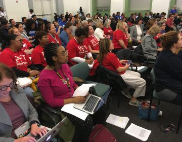 School nurses turn out in force at Board of Education meeting. (Bill Hangley, Jr./The Notebook)