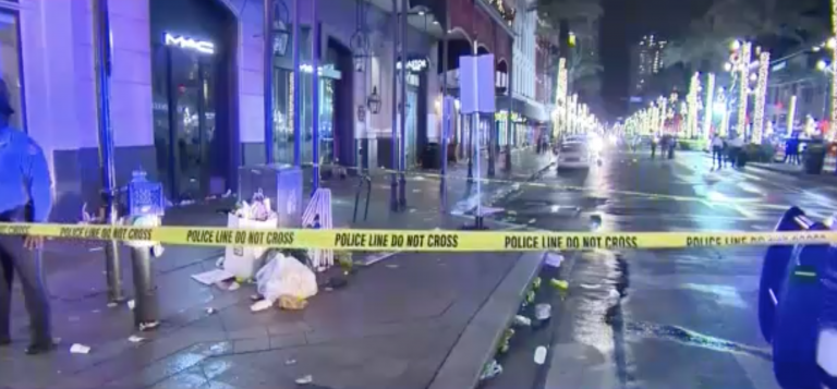 Eleven people were shot in New Orleans' French Quarter early Sunday morning, according to police. (Screenshot/NBC)