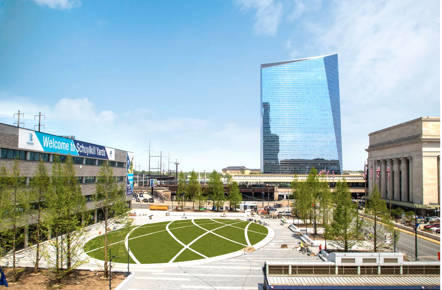 Drexel Square is a circular park bringing 1.3 acres of green space to a former parking lot across from 30th Street Station.