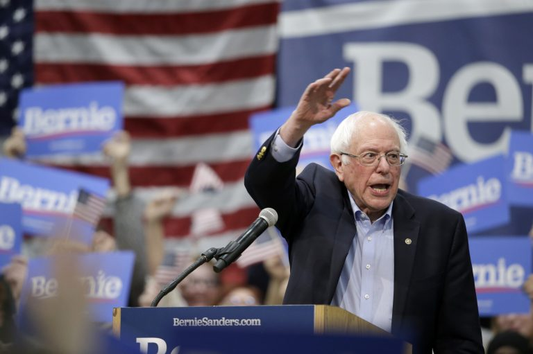 Sen. Bernie Sanders, I-Vt., speaks to supporters at an Iowa rally in March. (Nati Harnik/AP Photo)