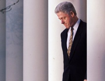 President Clinton in the Rose Garden of the White House on Dec. 11, 1998, before delivering a statement on the impeachment inquiry. (J. Scott Applewhite/AP Photo)
