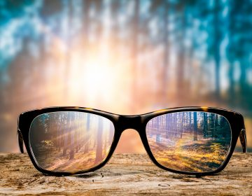 a pair of glasses focused on a forest