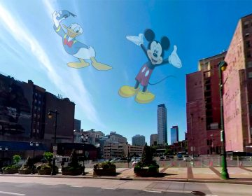 The empty lot at 8th and Market was almost turned into a Disney attraction. (Billy Penn Illustration)