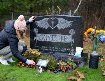 Shannon Goyette visits her son Jacob's grave in Shirley, Mass. The 16-year-old died by suicide last year. (Meredith Nierman/WGBH)