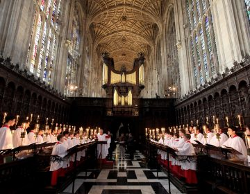 The Choir of King's College Cambridge conduct a rehearsal of their Christmas Eve service of A Festival of Nine Lessons and Carols in King's College Chapel on Dec. 11, 2010 in Cambridge, England. (Oli Scarff/Getty Images)