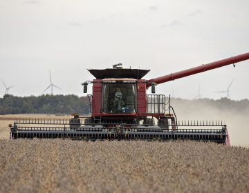 A farmer operates a combine to harvest soybeans in Wyanet, Ill. Farmers got more than $22 billion in government payments in 2019. It's the highest level of farm subsidies in 14 years. (Bloomberg/Bloomberg via Getty Images)