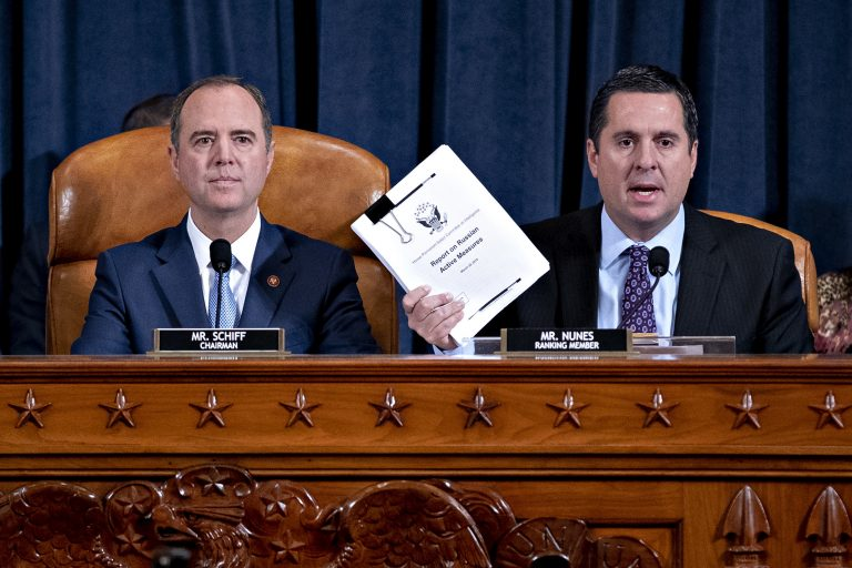 Rep. Devin Nunes, (R-Calif.) ranking member of the House Intelligence Committee, right, speaks as Rep. Adam Schiff, (D-Calif.) and chairman of the House Intelligence Committee, listens during an impeachment inquiry hearing on Capitol Hill Nov. 21, 2019. (Andrew Harrer/Getty Images)