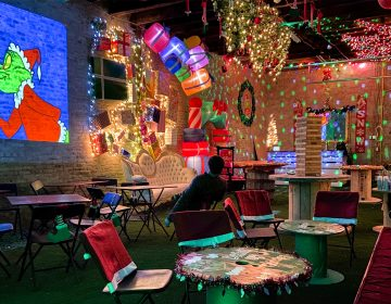 The pop-up is decked out with twinkle lights and a projector. (Courtesy of Melissa Michalczyk)
