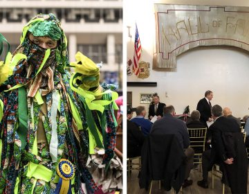 A Mummer in 2019; Judges gather for a lunch before the 2020 parade MICHAEL REEVES; MICHAELA WINBERG / BILLY PENN