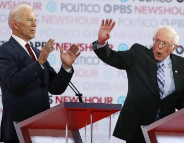 Democratic presidential candidates former Vice President Joe Biden, left, and Sen. Bernie Sanders, I-Vt., speak during a Democratic presidential primary debate Thursday, Dec. 19, 2019, in Los Angeles. (AP Photo/Chris Carlson)