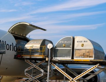 Shipping load containers on the runway at PHL (Courtesy UPS Philadelphia)
