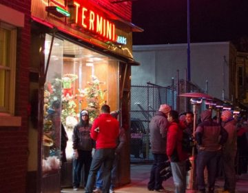 Heat lamps keep people warm as they line up for Christmas treats at Termini Bros. Bakery in South Philly (Facebook / Termini Bros Bakery)