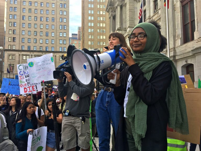 Sabirah Mahmud speaks at a Youth Climate Strike at Philadelphia City hall on Sept. 20, 2019. She is the lead Philly organizer for #ClimateStrike. (Catalina Jaramillo/WHYY)