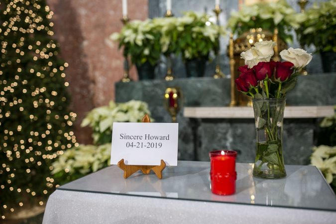 A memorial to commemorate Sincere Howard at Parish of the Cathedral in Camden, NJ on Monday, December 30, 2019. The 22 hours Vigil was held to commemorate the 24 murders in Camden City in the year 2019. (Miguel Martinez for WHYY).