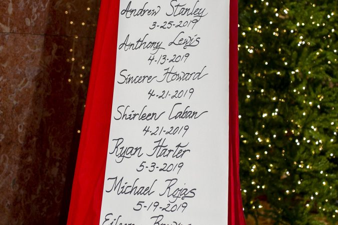 A scroll of the names of the 24 murders victims in Camden City in 2019 is pictured at Parish of the Cathedral during a vigil in Camden, NJ on Monday, December 30, 2019. The 22 hours Vigil was held to commemorate the 24 murders in Camden City in the year 2019. (Miguel Martinez for WHYY).