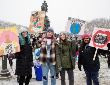 Downingtown East High School students Chloe Baumann, Hope Hessler, Megan Beale, and Gabbi Chacko traveled to Philadelphia to attend the Women's March. (Becca Haydu for WHYY)