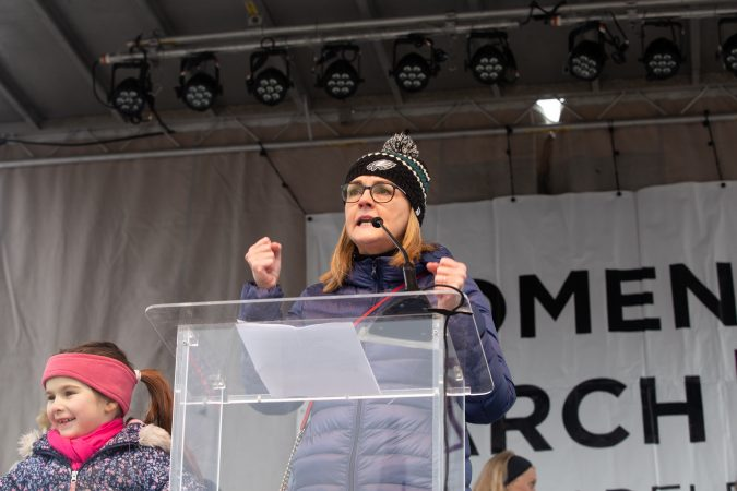 Representative Madeleine Dean addressed the crowd at the 4th annual Women's March on Philadelphia this Saturday, January 18th. (Becca Haydu for WHYY)