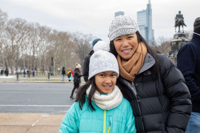 Michelle Aleti of Chestnut Hill attended the 4th annual Women's March on Phialdelphia with her daughter Mira Aleti, 10. Philadelphia (Becca Haydu for WHYY)
