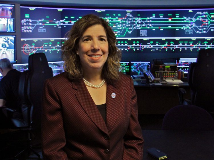 SEPTA's new general manager, Leslie Richards, stands in the control room at SEPTA headquarters. (Emma Lee/WHYY)