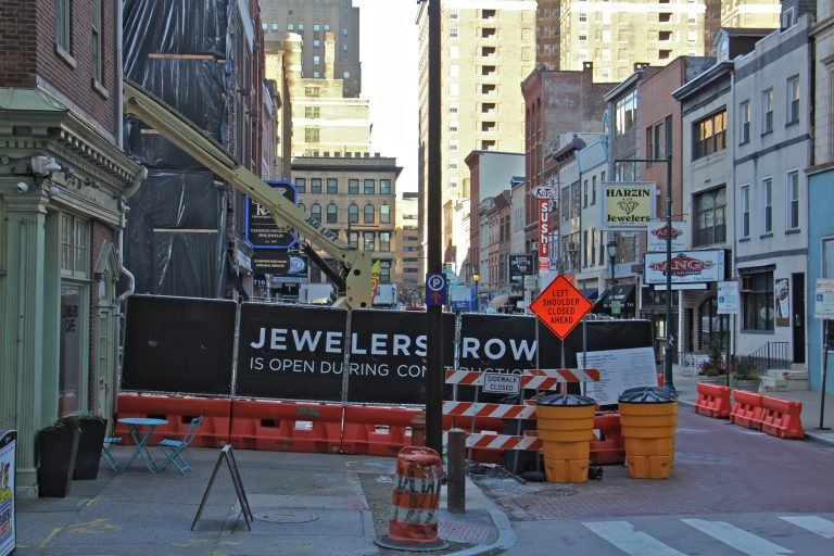 Jewelers Row in the 700 block of Sansom Street as a demolition crew makes way for a new condo tower on Jan. 22, 2020. (Emma Lee/WHYY)
