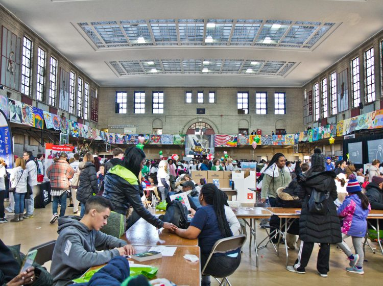 Volunteers gathered at Girard College in Philadelphia for the 2020 MLK Day of Service, the largest Martin Luther King Jr. event in the country. (Kimberly Paynter/WHYY)