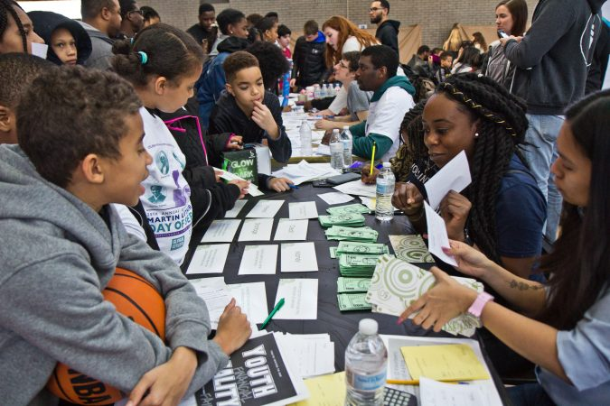 Kids ages 8 through 13 participated in the Youth Financial Reality Fair. (Kimberly Paynter/WHYY)