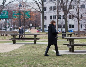 People enjoy Franklin Square Park on a gray January day. (Kimberly Paynter/WHYY)