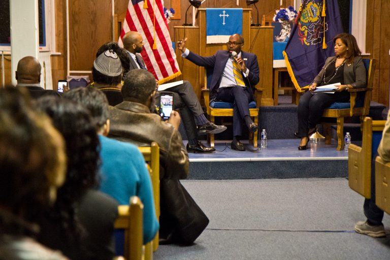 Philadelphia's First Immanuel Baptist Church in Sharswood hosted a Black Voices for Trump roundtable with Paris Dennard, a conservative speaker, and Kamiliah Prince, the RNC's director of African-American engagement. (Kimberly Paynter/WHYY)