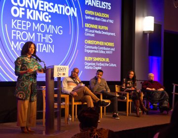 Kimya Johnson (left) Spelman alumna and chair of the diversity and inclusion legal practice group at Ogletree Deakins, moderates a discussion during 'Conversations of King: Keep Moving from This Mountain' event at WHYY studios. (Kimberly Paynter/WHYY)