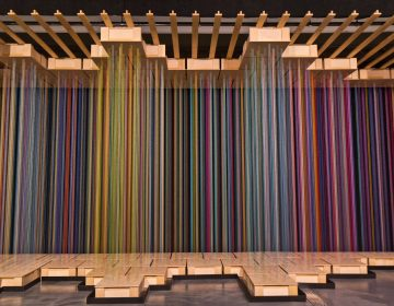 """""""Sweet Spot"""" by Indiana bases artists Shawn Causey and Mark Daniell at Wonderspaces in Philadelphia's Fashion District. (Kimberly Paynter/WHYY)"""