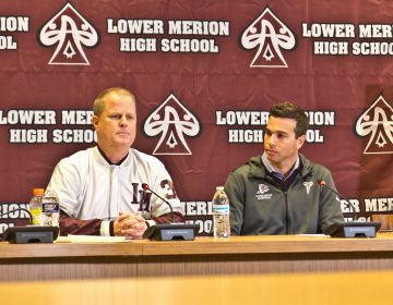 Kobe Bryant's former coach Gregg Downer (left) and teammate Doug Young (right) held a press conference to talk about the late basketball superstar at his former high school in Lower Merion. (Kimberly Paynter/WHYY)