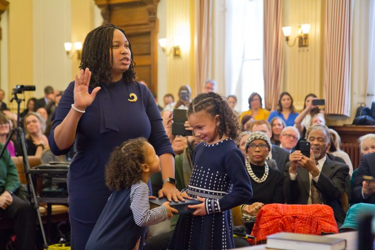 Democratic Delaware County Councilperson Monica Taylor is sworn into office on January 6, 2020. (Kimberly Paynter/WHYY)