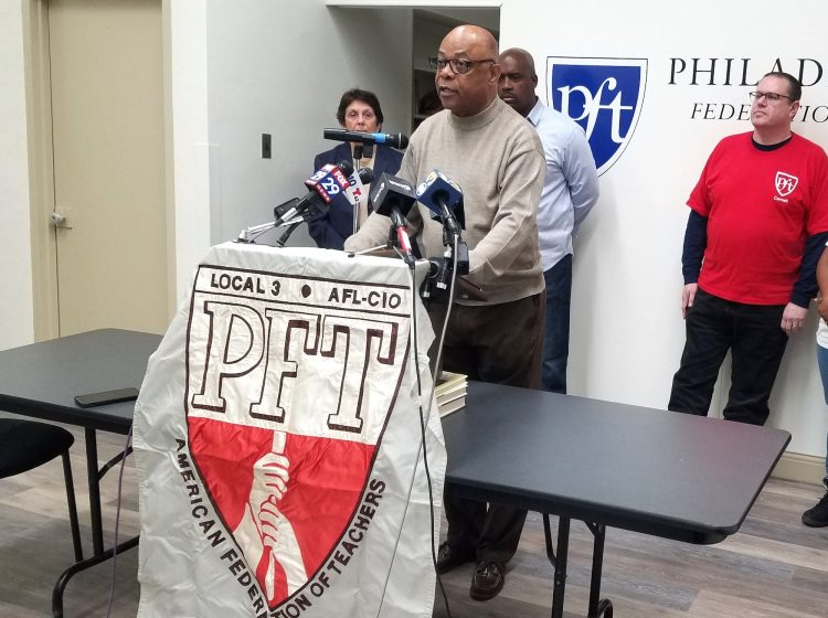 Jerry Jordan, president of the Philadelphia Federation of Teachers, announces the union is taking legal action over hazardous conditions in the city's schools on Jan. 20, 2019. (Nicholas Pugliese/WHYY)