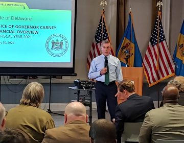 Gov. John Carney presents his $4.6 billion spending plan to state lawmakers in Dover Thursday morning. (Zoë Read/WHYY)