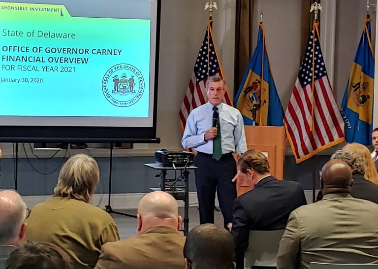 Gov. John Carney presents his $4.6 billion spending plan to state lawmakers in Dover Thursday morning. (Zoë Read/WHYY)