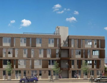 An artist's rendering of an apartment complex planned for Point Breeze Avenue. (Ori Feibush)