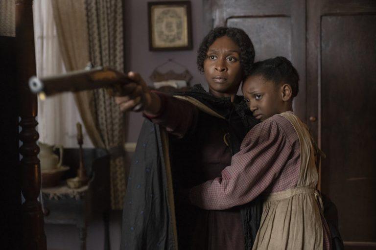Cynthia Erivo (left) stars as Harriet Tubman along with Aria Brooks (right). (Glen Wilson/Focus Features via NPR)